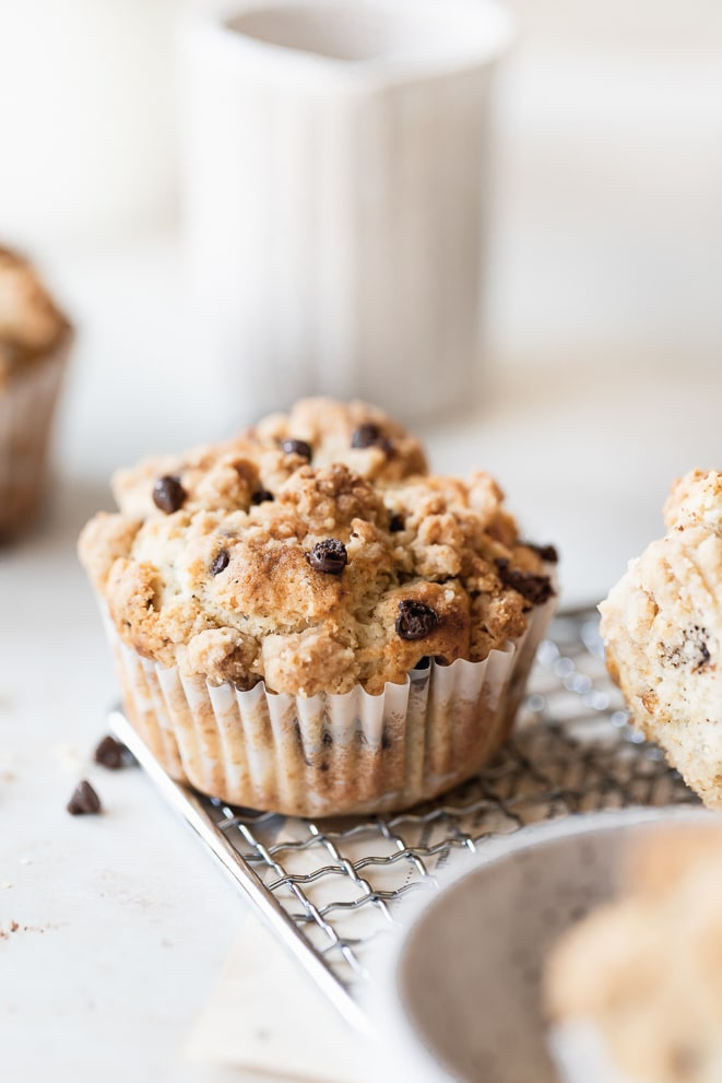 a muffin sitting on a wire rack