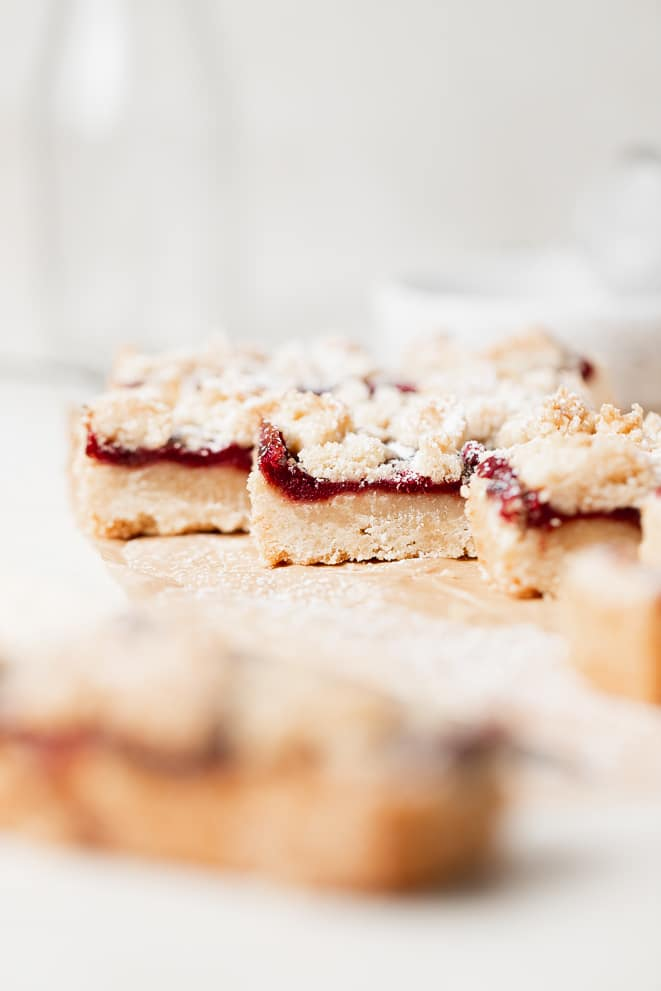 plum bars on their side to show the different layers of the bars