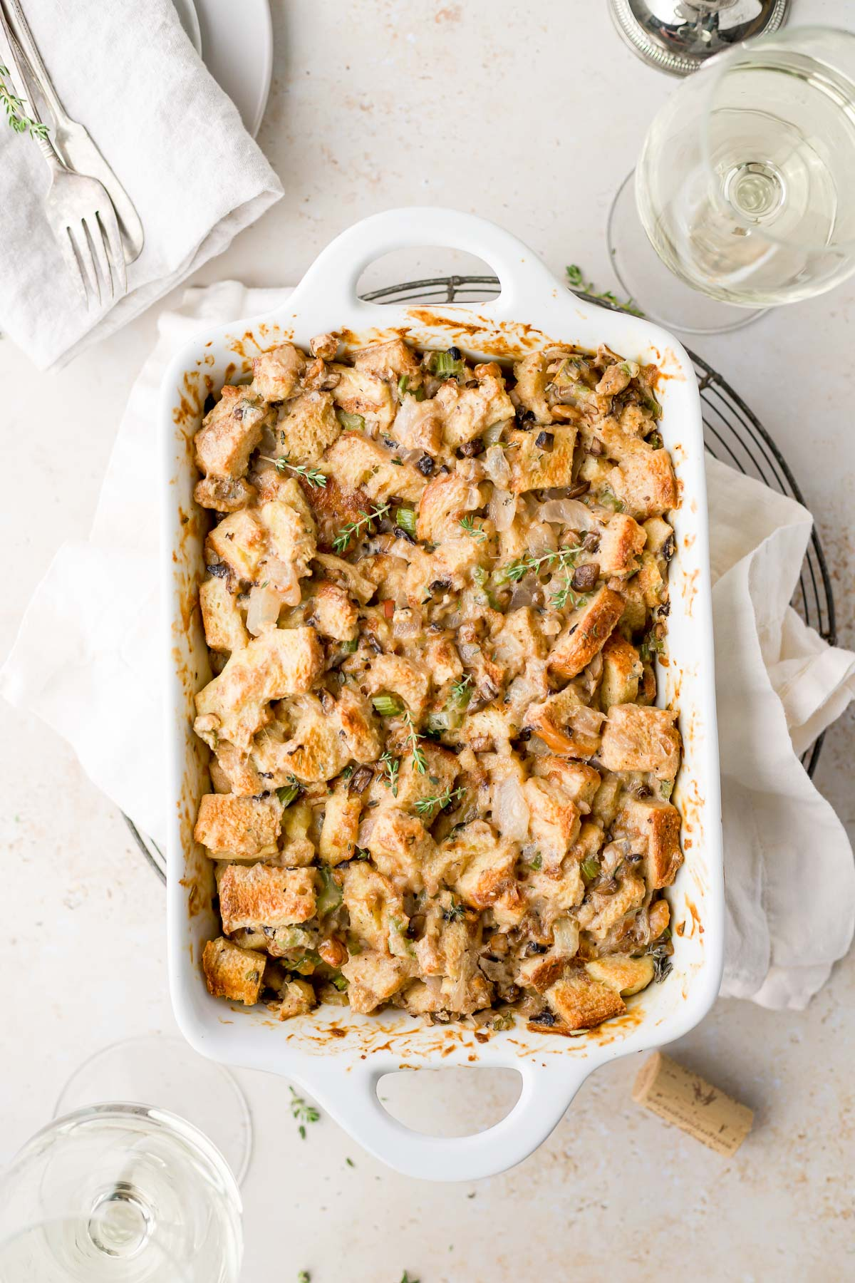 overhead shot of the stuffing in a baking dish
