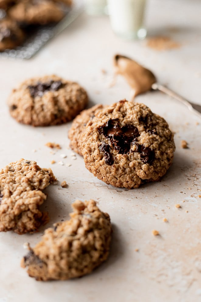 melty chips in the chocolate chip oatmeal cookie