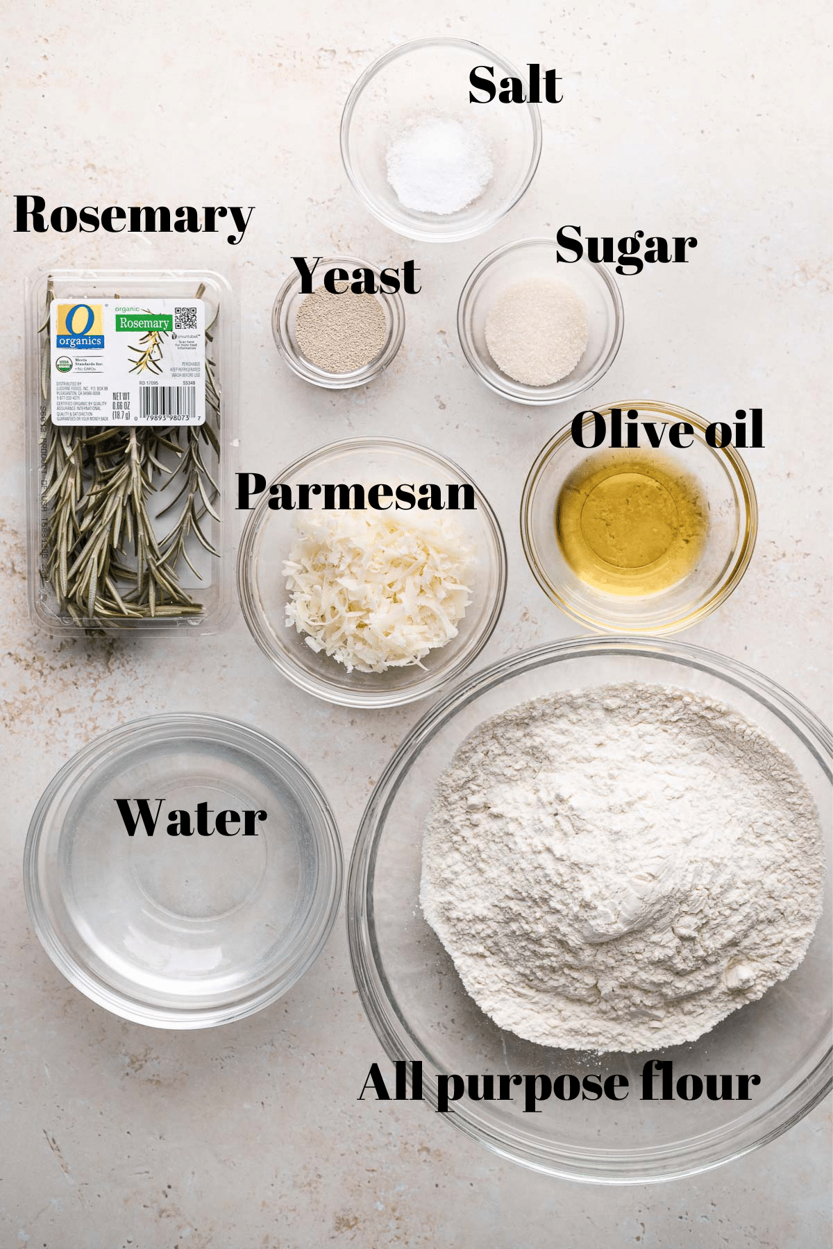 overhead shot of all of the ingredients needed for the recipe