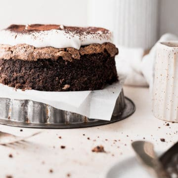 flourless chocolate cake topped with cocoa powder