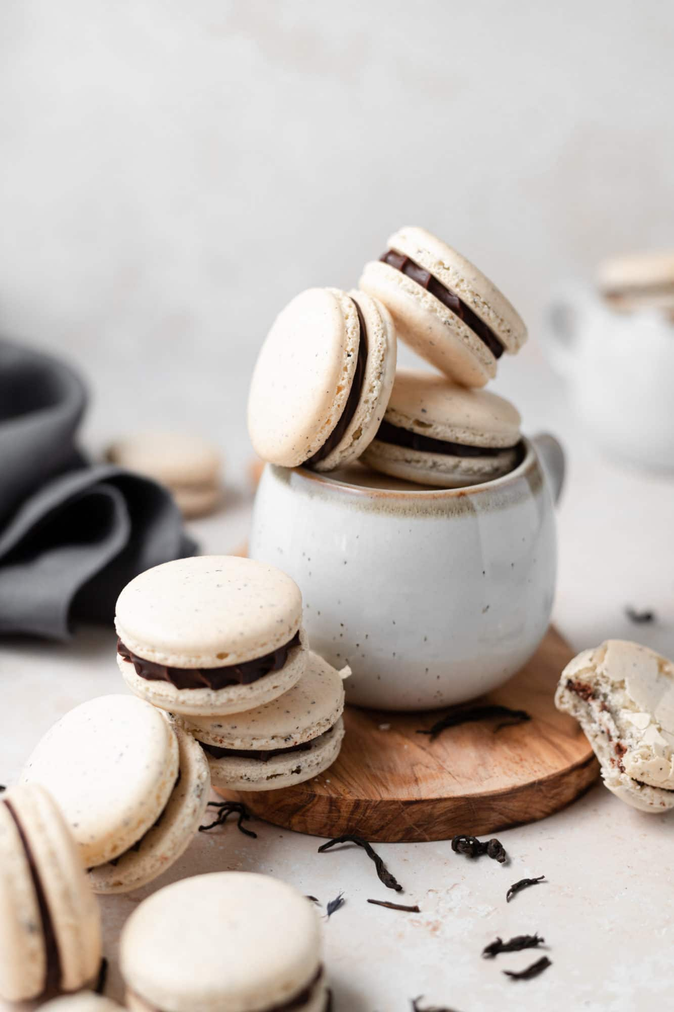 macarons stacked on each other in a mug