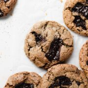 a few cookies on a white surface