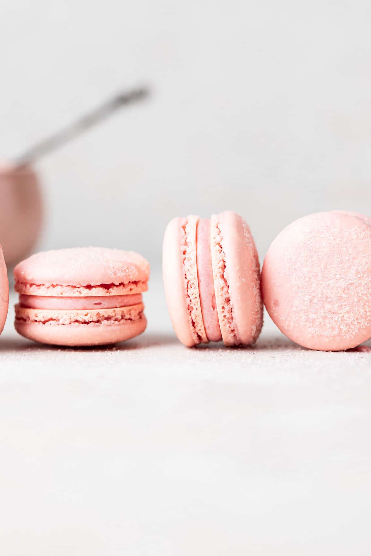 a few macarons on their sides