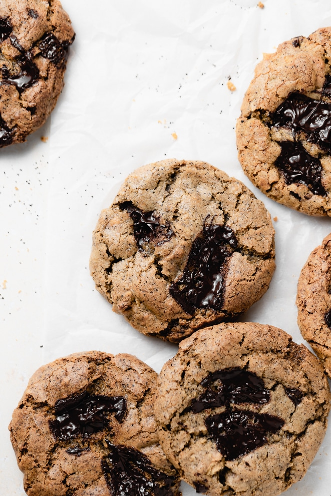 overhead shot of the cookies on a white surface