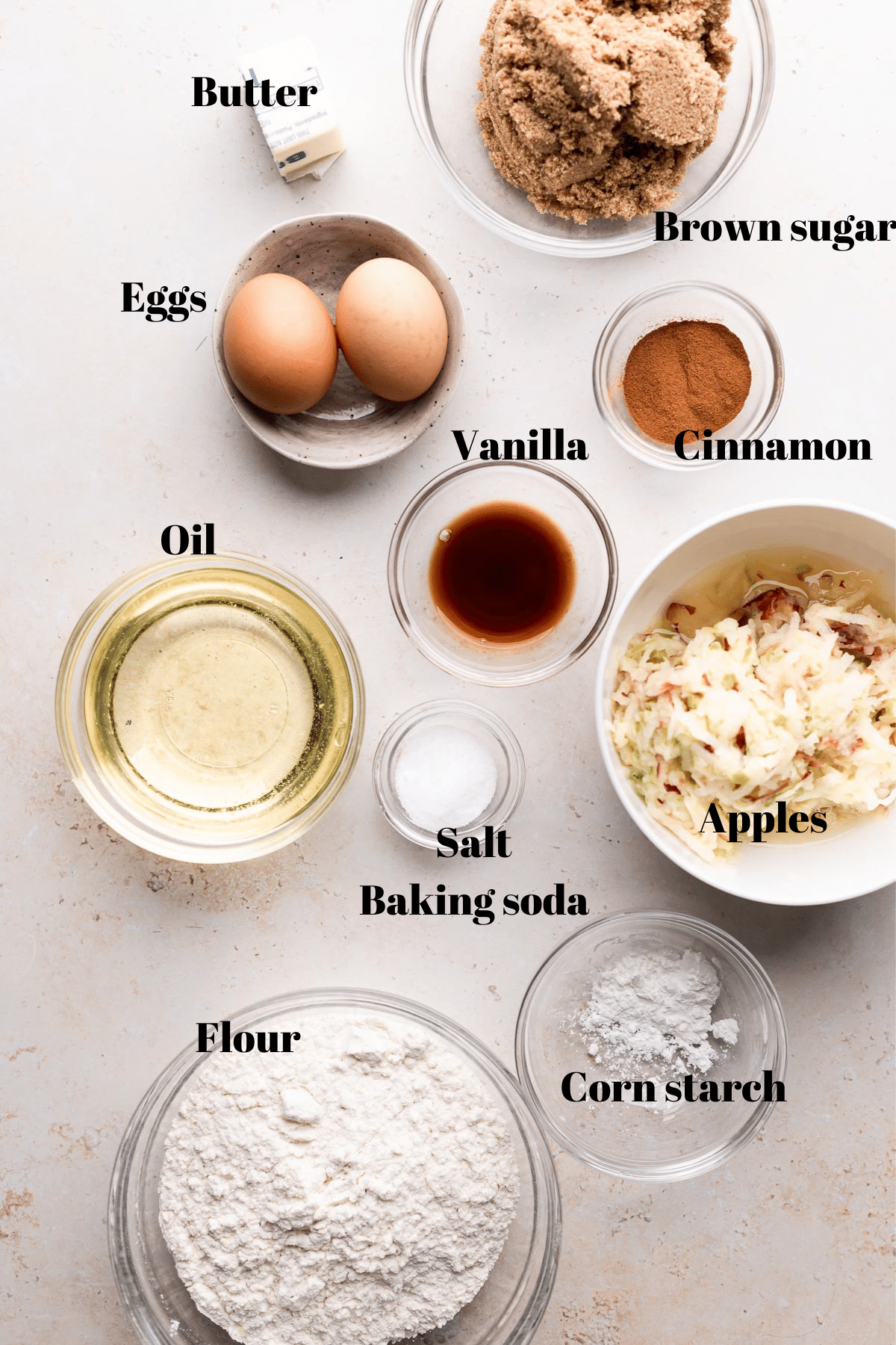 overhead shot of the bowls of ingredients needed for this recipe