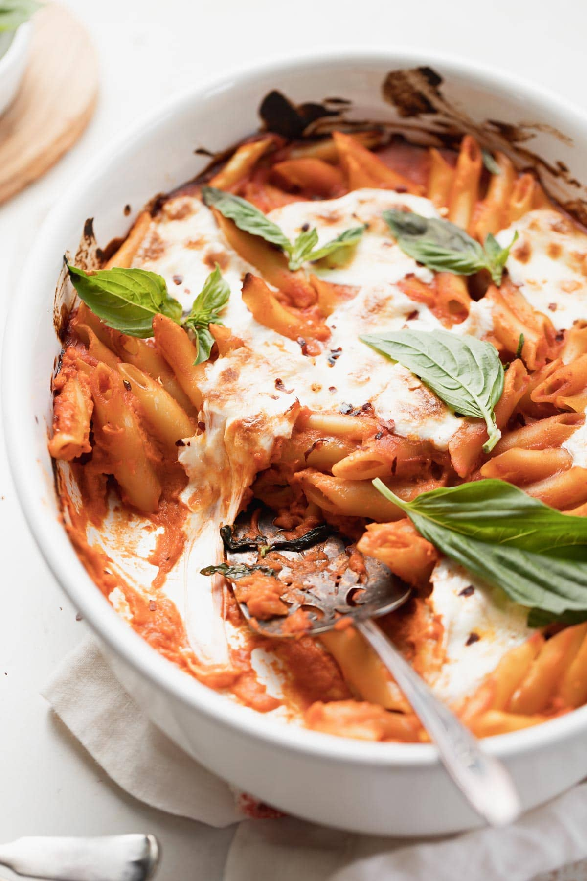 the baked penne with spicy vodka sauce in a pan.