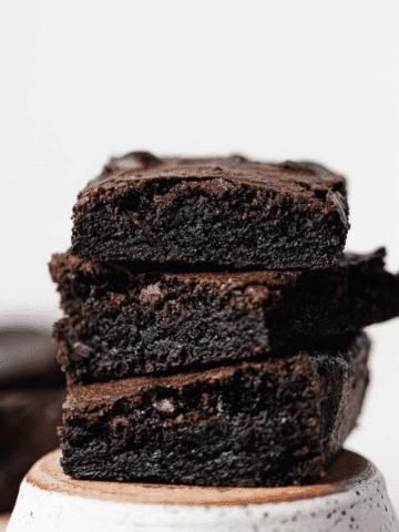 brownie stack on a ceramic dish