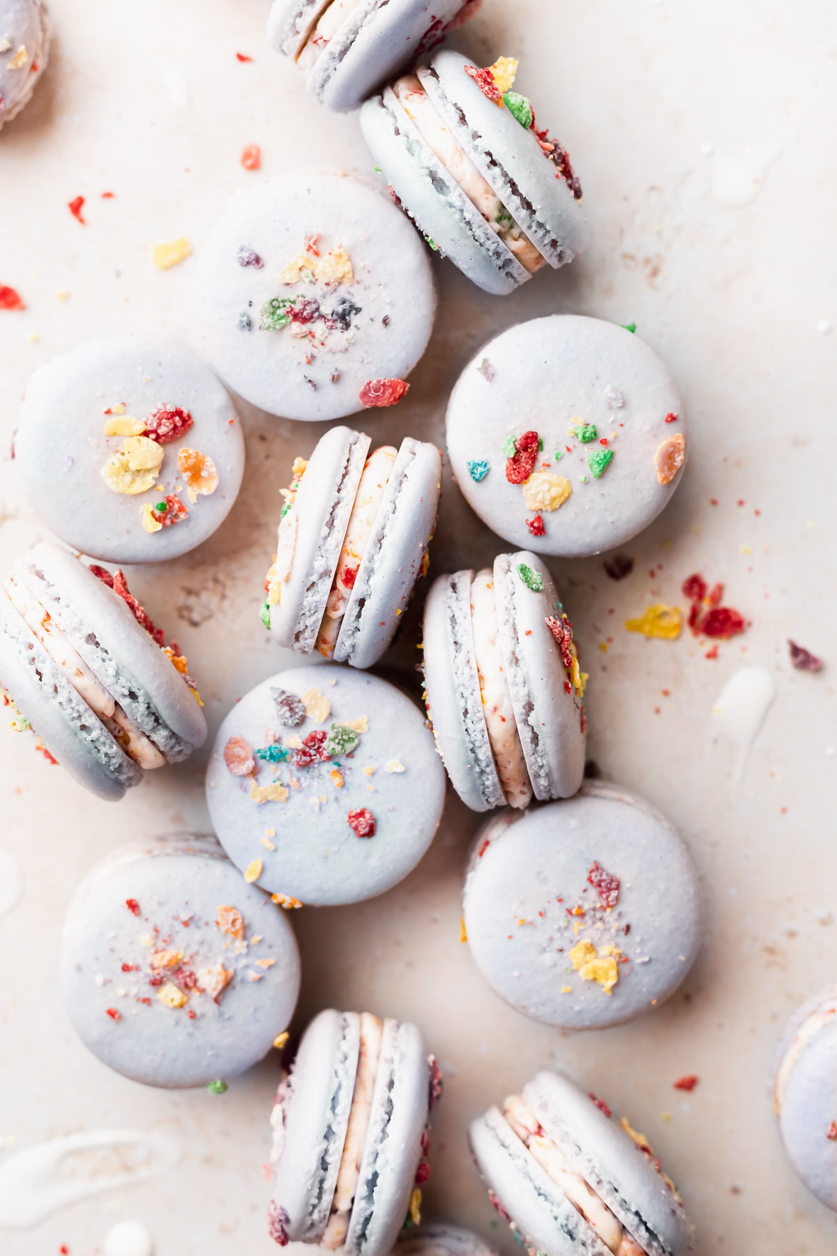 overhead shot of the macarons on their sides surrounded by cereal