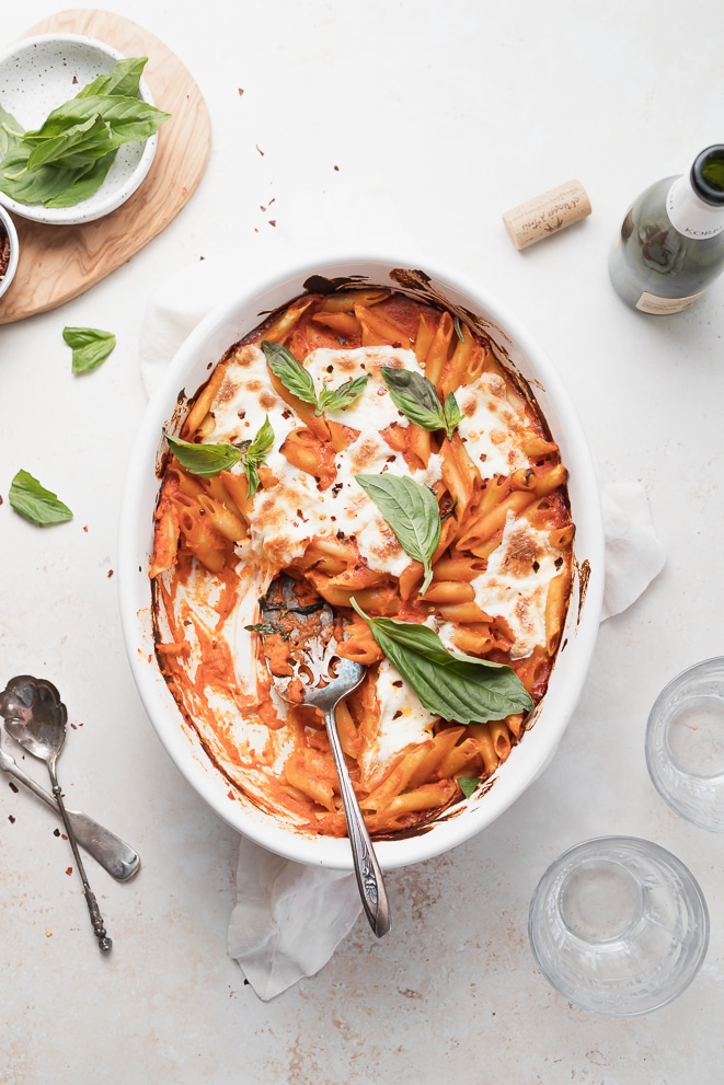 baked penne with spicy vodka sauce