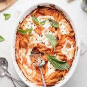 a dish of the baked penne with spicy vodka sauce.