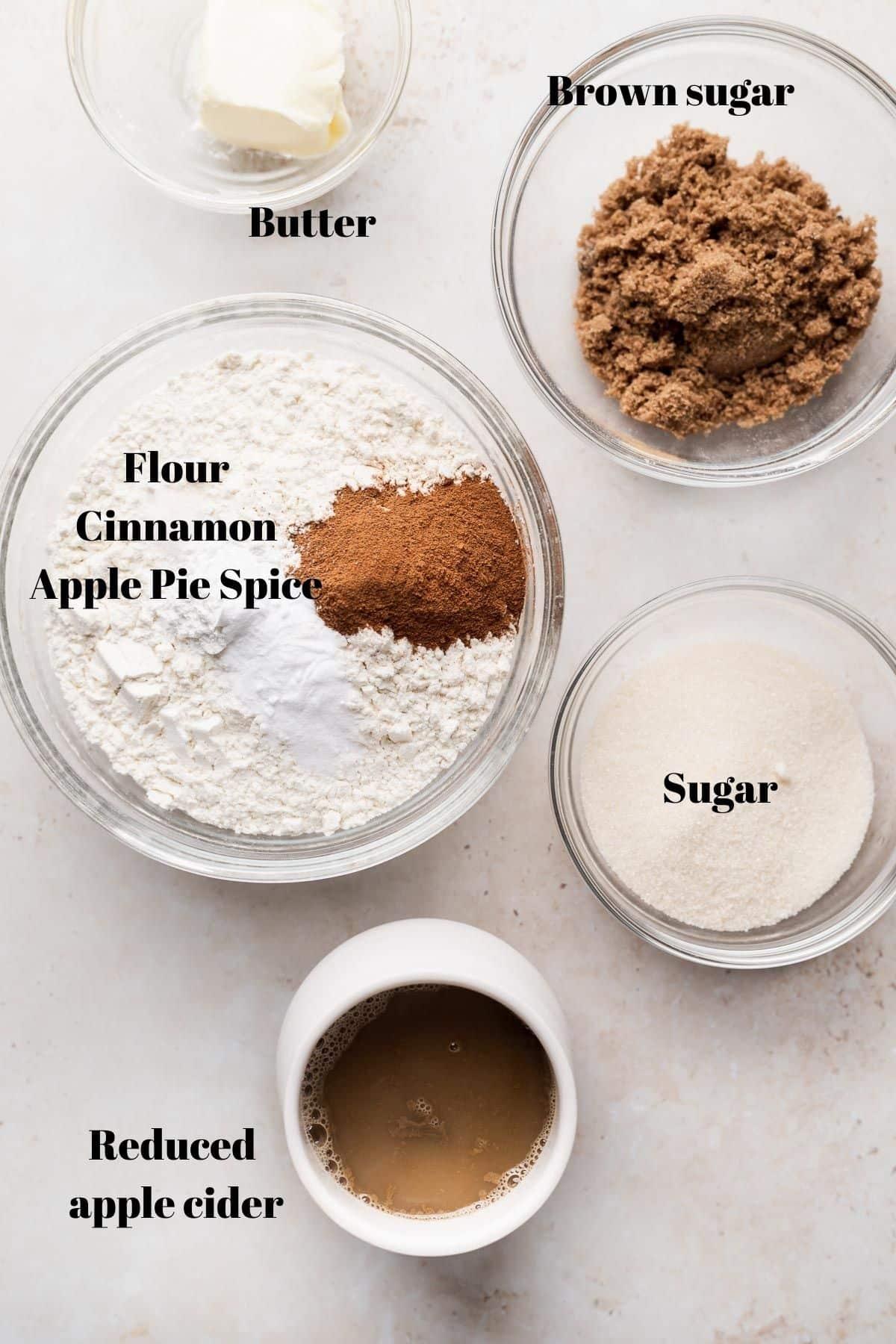 apple cider donut loaf ingredients.
