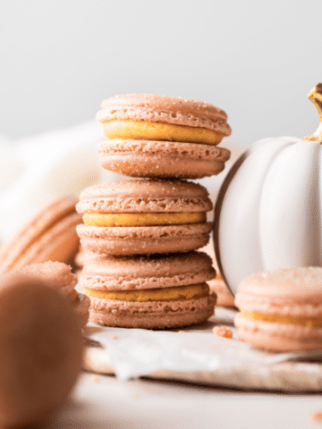 three macarons stacked on top of each other