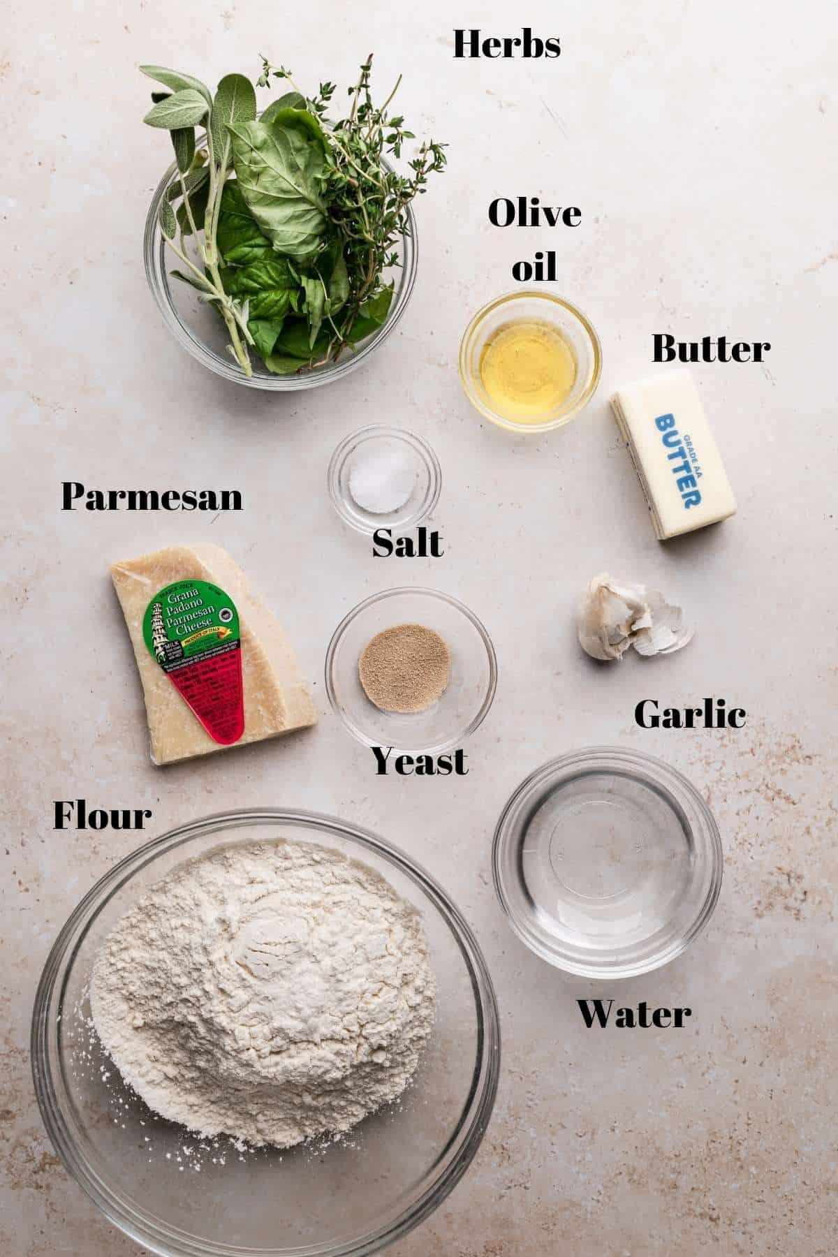 parmesan bread bites ingredients.
