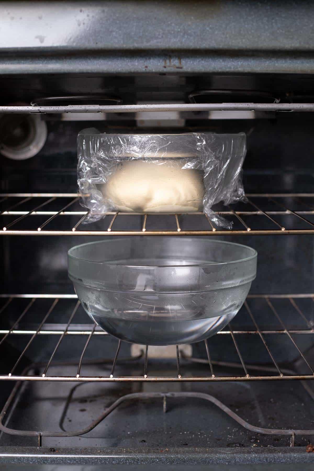 parmesan bread bite dough bowl in the oven.