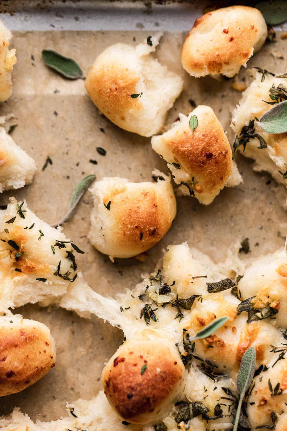 parmesan bread bites after baking.
